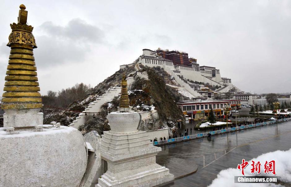 第一场雪 雪后布达拉宫别样美丽