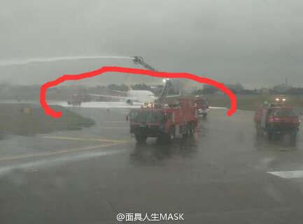 福州机场一架客机发动机起火