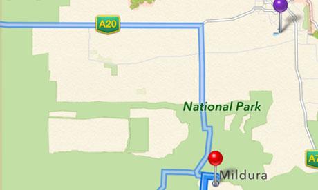 地图/苹果地图出错截图(紫色为实际位置红色为地图标记位置)...