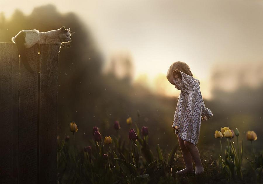 许多儿子与农场小动物们融洽相处的温馨画面.这些照片中孩子和小