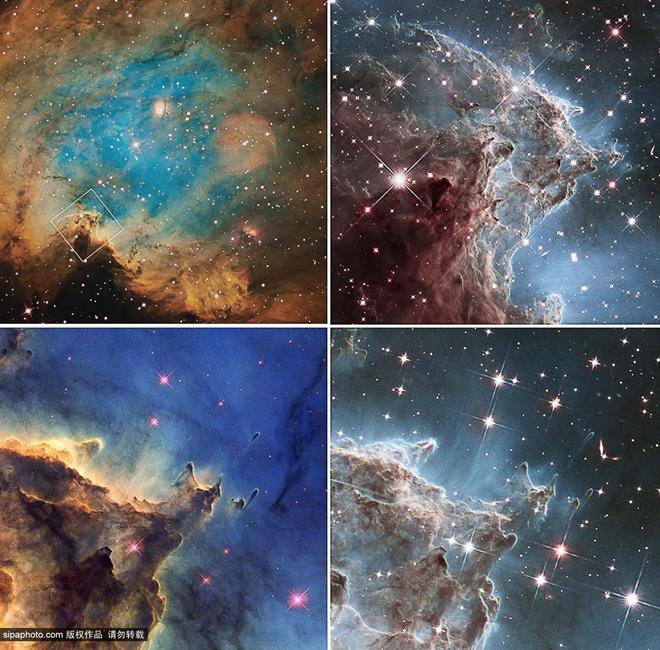 NASA发布猴头星云照为哈勃庆生
