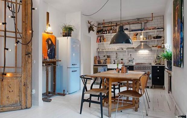 40平米单身公寓装修 个性复古的小窝高清图片