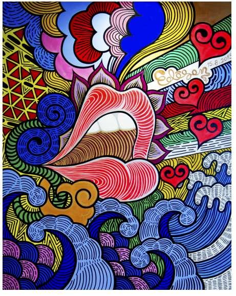 """张博作品图 著名复古涂鸦艺术家张博创作的""""大胆爱在一起""""为主题的涂鸦作品。 张博曾任东南亚区和澳洲区Quiksilver 品牌平面设计师,北京CDS 中国设计师沙龙名誉理事,他以涂鸦的形式表达自己对大胆爱主题的 理解,让艺术与现代爱情方式在此次艺术展中完美交融,诠释大胆爱 ——面对爱情大胆说出来,守护爱情要有胆量走到底!"""