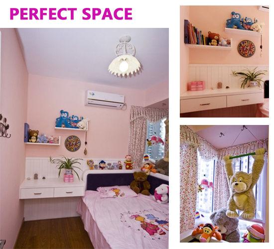 床边陈列柜,小挂饰,布娃娃,可爱而时尚,粉嫩的色彩与整个空间十分融洽