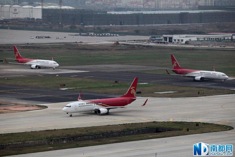 """深圳机场""""一夜转场"""" 近70架飞机集体挪窝"""
