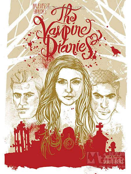 《吸血鬼日记》宣传手绘海报曝光 艺术家jessica 制作