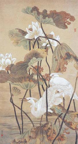 陈之佛作品《荷花白鹭》108cm×59cm 1952年
