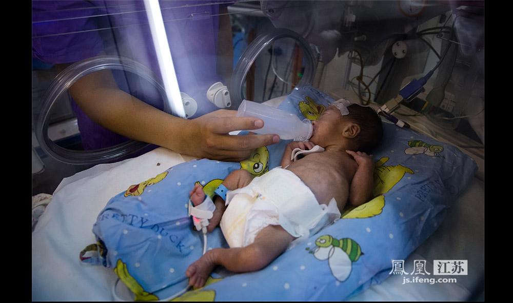 """护士给早产儿喂奶。据了解,早产儿食用的奶都是配方奶,每个孩子的配方都不同,都是""""定制的""""。 护士们平均两三个小时就要喂一次,一天下来要喂12次。由于早产儿吸吮吞咽能力差,护士喂奶一般要半个小时才能完成。(林琨/摄 胥大伟/文)"""