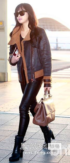 宋茜机场街拍 皮衣皮裤秀帅气图片