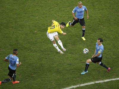 罗德里格斯劲射奉献世界波 哥伦比亚1-0乌拉圭