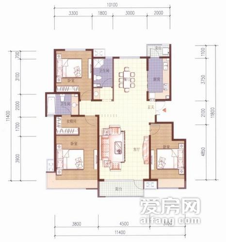 a户型 3室2厅2卫 139平方米
