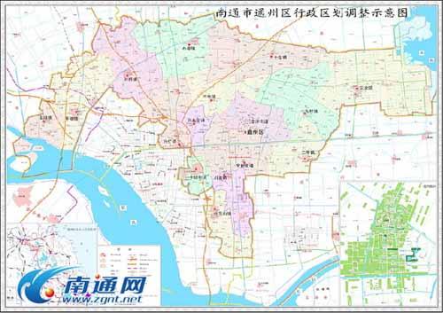 南通市通州区行政区划调整示意图