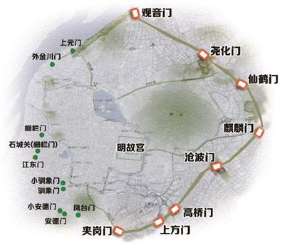 南京城墙手绘地图
