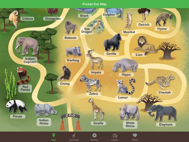 """Pocket Zoo:最具人气的""""超级动物园"""" 打开应用,即能看到一个种类极其丰富的""""超级动物园""""。 相比VIRRY 的扁平化设计,Pocket Zoo 的界面采用卡通贴图风,除了必不可少的直播和视频,每一种动物还有叫声录音、插图和习性介绍,十分适合用于孩子的教育。"""