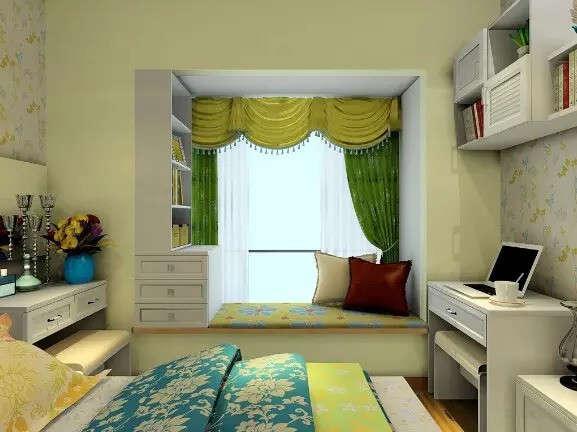 转角家具摆放卧室带窗户设计