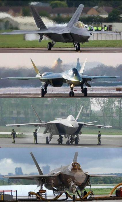 资料图:从上至下依次为F-22、T-50 、歼-20、F-35战机。