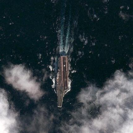资料图:中国航母海试卫星图。