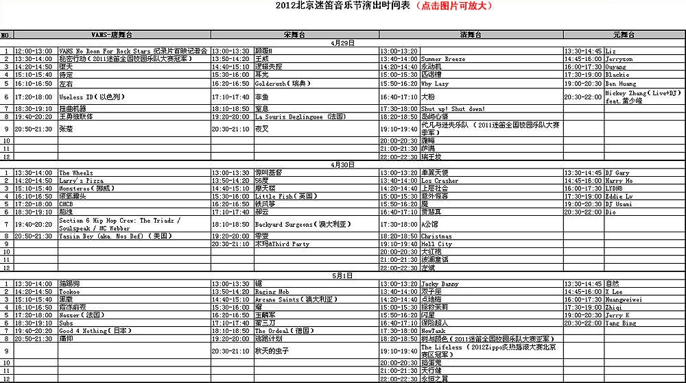 2012北京迷笛音乐节演出时间表
