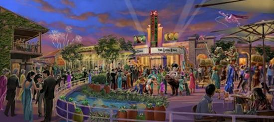 上海迪士尼乐园概念设计图 此次公布的设计图还包括迪士尼小镇的整体造型,小镇将容纳世界级娱乐设施、商店和餐厅,其中的剧院也将首演中文版的百老汇经典音乐剧《狮子王》。 据悉,上海迪士尼乐园将于2015年末或2016年初开园,具体开业时间尚不清楚。