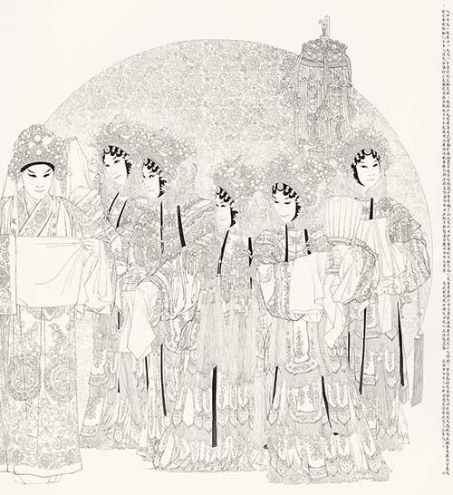 京剧戏服手绘黑白