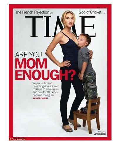 据了解,喂奶照封面上的母亲来自洛杉矶的杰米,26岁的杰米是两个孩子的母亲,现年5岁的大儿子塞缪尔是2010年11月从埃塞俄比亚领养的,小儿子阿拉姆为亲生儿子已经快4岁。她与4岁儿子一起登上封面,引发争议。女性争取公共场合哺乳权的争议一起不断。