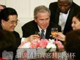 胡锦涛与关颖珊等宾客在午餐会上共同举杯