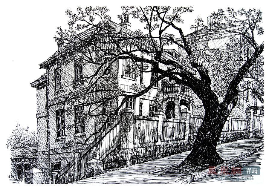 青岛风光钢笔画 线条勾勒出百年滨海城市风貌