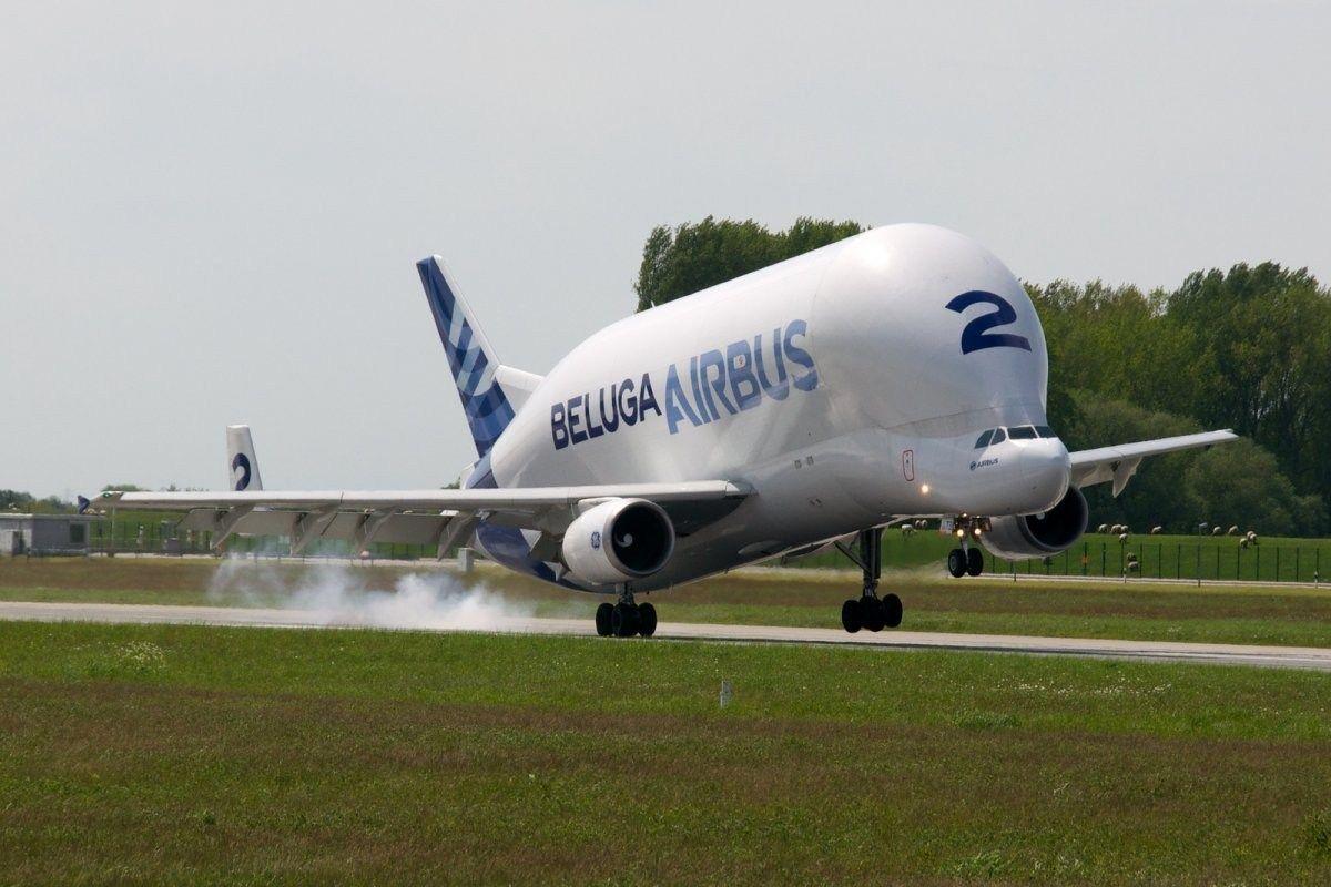 """大部分零部件由""""白鲸""""货运飞机运到图卢兹组装厂."""