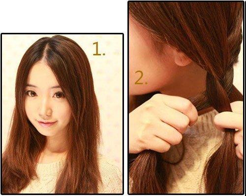 一分钟编出韩式可爱发型 女生扮嫩扎发法