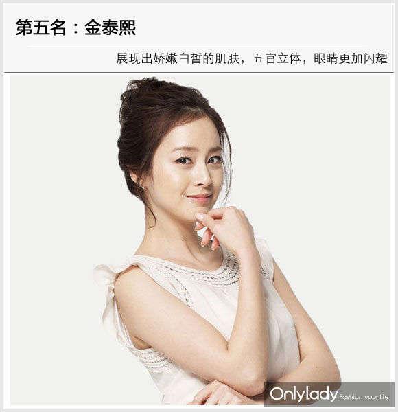 金泰熙 第五名:金泰熙(Kim Tae-Hee) 韩国著名女演员,韩国最美女星的代表人物之一,也是韩国自然美的代表。这是大家公认的女神级别的美女,第一张是金素妍素颜自拍照片,大大的眼睛依旧迷人,化妆之后,展现出娇嫩白皙的肌肤,五官立体,眼睛更加闪耀,涂上粉色的唇彩,展现水润Q唇,美艳无比。