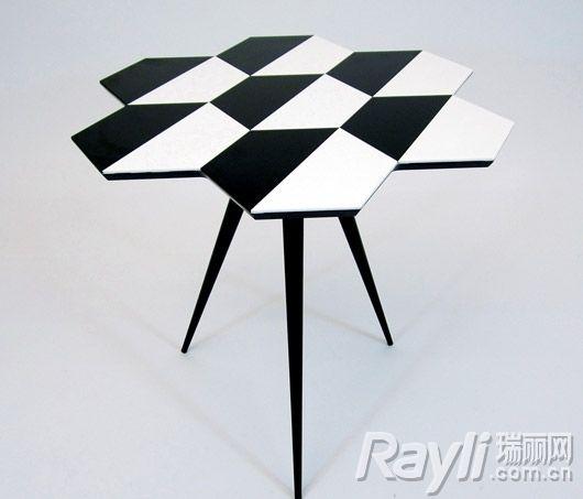 co.uk黑白相间几何图案边桌图片