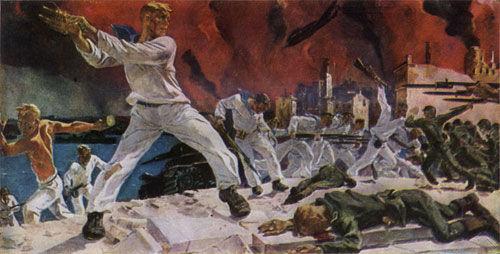 第二次塞瓦斯托波尔保卫战的最后时刻,苏联海军士兵与德军展开肉搏.
