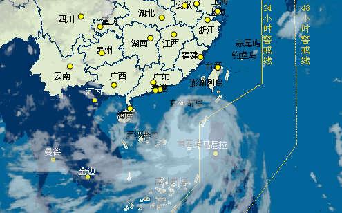 """5日早上6时,台风""""海鸥""""卫星云图-直击台风 海鸥 实时路径图片"""