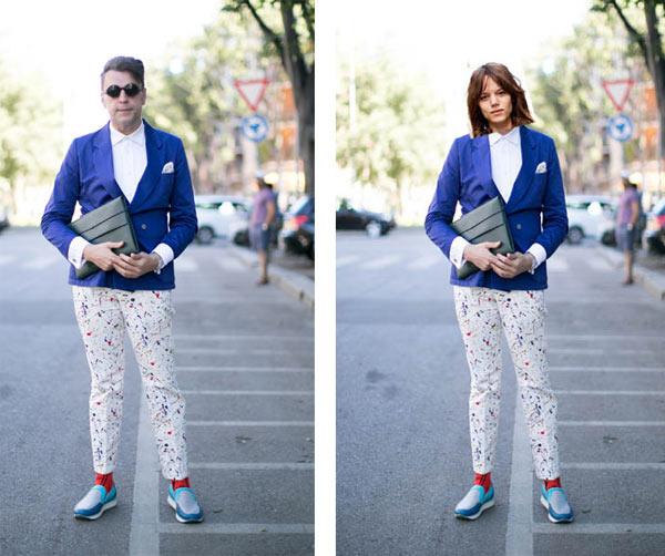 的蓝西装,白裤子