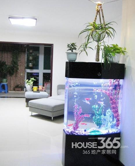 家装鱼缸隔断效果图图片 鱼缸现代中式玄关实景图隔断