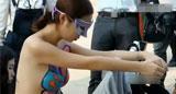 实拍长沙车展美女人体彩绘