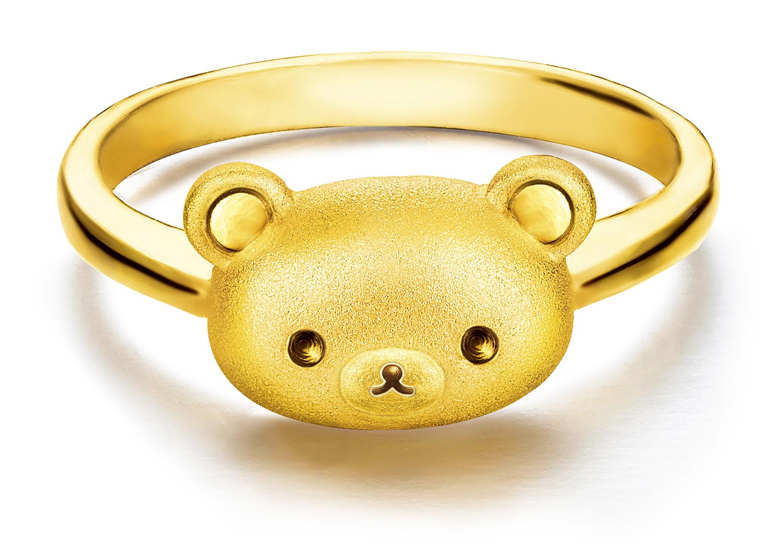 以闪闪生辉的黄金勾勒出轻松小熊的可爱头像,简约又不失贵气,将轻松
