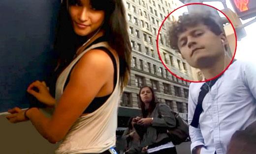 美女臀部装摄像头上街拍摄偷瞄男子