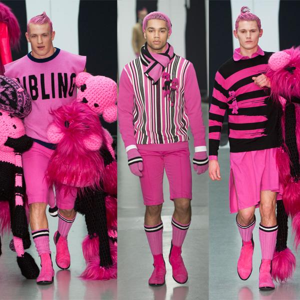 男粉红色裤子搭配
