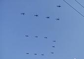 抗战大阅兵训练画面曝光 直升机飞出70字样