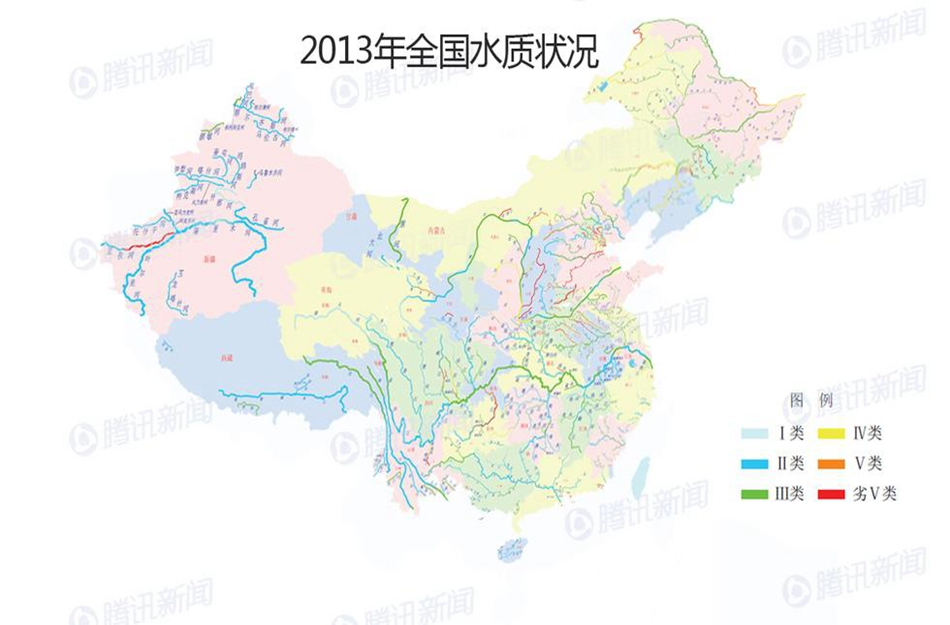 全国水污染分布地图 十大水系水质一半污染(组图)