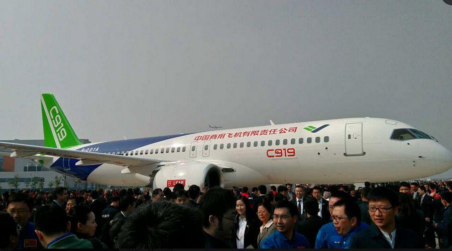 c919首架机正式下线 360度环视国产大飞机细节