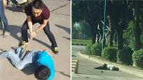 实拍广东一劫匪抢车撞死数人 被制服后遭暴打