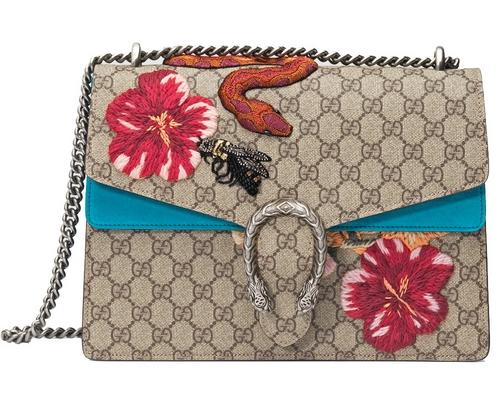 花朵、蟒蛇和蜜蜂刺绣+双G Logo款(中号),外网售价约24400元.-