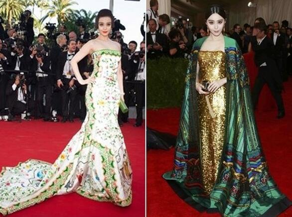 [明星爆料]范冰冰入选全球十佳红毯造型 被评华人第一美