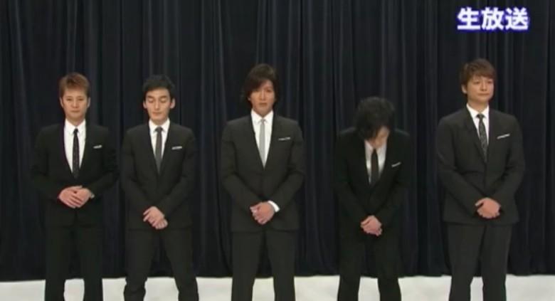 [明星爆料]SMAP五成员齐现身 鞠躬道歉宣布不解散