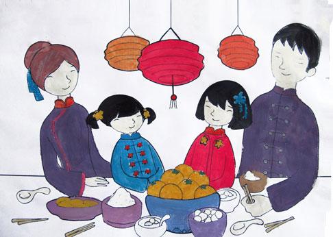 包汤圆卡通-美丽中国年 为孩子 众筹 一堂新年课
