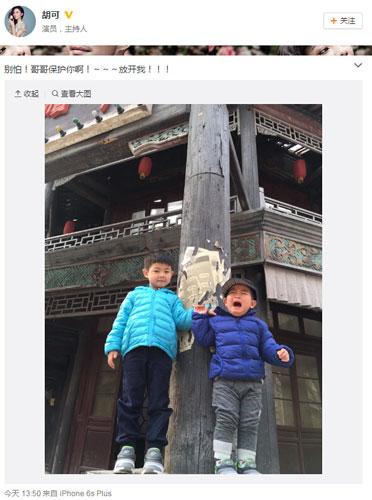 [明星爆料]胡可两儿子高处合影 弟弟吓哭哥哥忙保护(图)