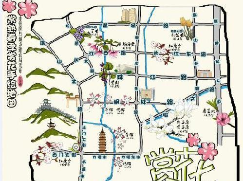 份赏花手绘地图