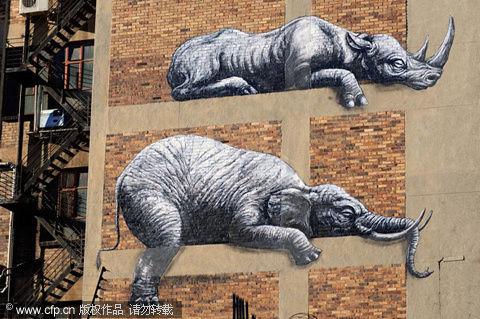 街头艺术家roa在建筑物外墙上绘制巨大的非洲动物